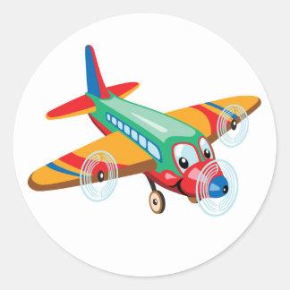 cartoon vliegtuig ronde sticker