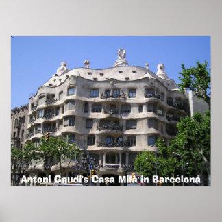 Casa Mil van Antoni Gaudi's in Barcelona Poster