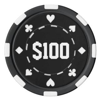 Casino, $100, de Spaanders van de Pook, Zwarte/Wit Pokerchips
