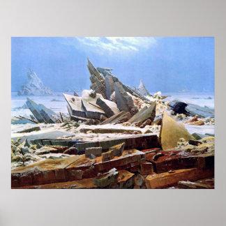CASPAR DAVID FRIEDRICH - het zee van ijs 1824 Poster