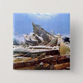 CASPAR DAVID FRIEDRICH - het zee van ijs 1824 Vierkante Button 5,1 Cm