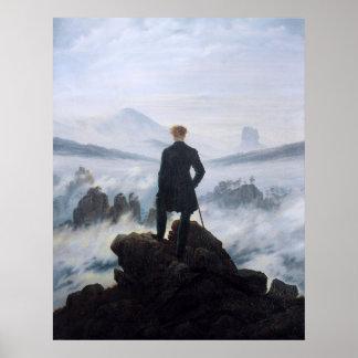 CASPAR DAVID FRIEDRICH - Zwerver boven het zee Poster