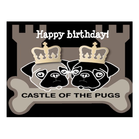 castle of the pugs briefkaart happy birthday