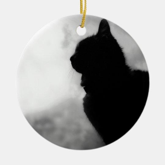 Cat at Night Feline Animal Pet Cat Puss Pussy tom Rond Keramisch Ornament