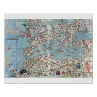 Catalaanse Atlas: Detail van Noord-Afrika en Europ Poster