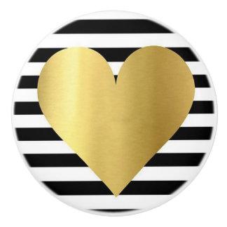 Ceramische Knop/Gouden hart-Zwarte en Witte Keramische Knop