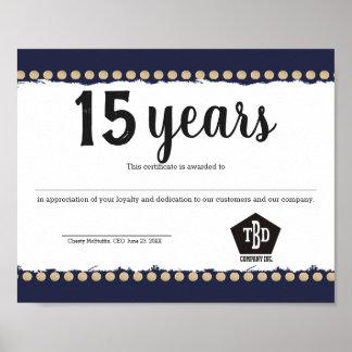 Certificaat van de de werknemersverjaardag van poster