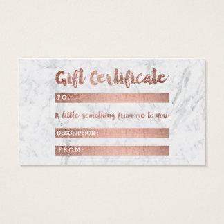 Certificaat van de gift nam het gouden marmer van visitekaartjes