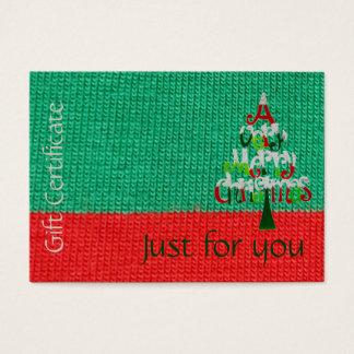 Certificaat | van de Gift van Kerstmis enkel voor Visitekaartjes