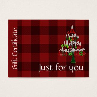 Certificaat van de Gift van Kerstmis van de Plaid Visitekaartjes