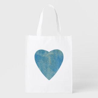 Cerulean Blauwe Hart van de Waterverf Herbruikbare Boodschappentas