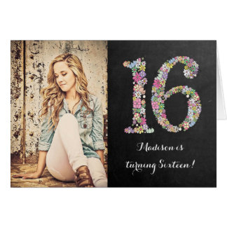 Chalkboard Girls Floral 16th Birthday Party Invite Greeting Card