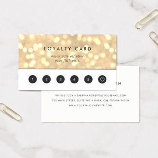 Champagne Gouden Bokeh | Loyaliteit Visitekaartjes