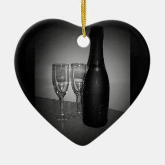 Champagne Keramisch Hart Ornament