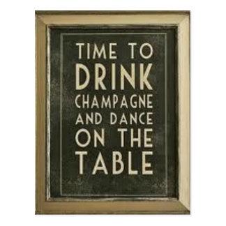 "CHAMPAGNE: ""TIJD TE ETEN, OM TE DRINK, OM TE BRIEFKAART"