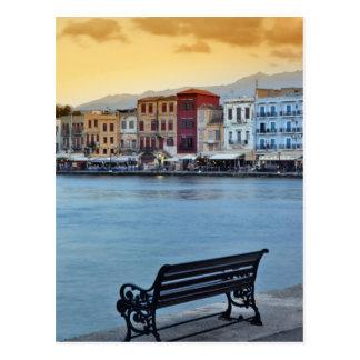Chania bij schemer, Chania, Kreta, Griekenland Briefkaart
