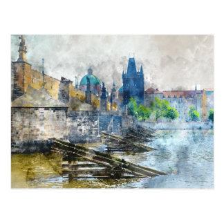 Charles Bridge in de Tsjechische Republiek van Briefkaart