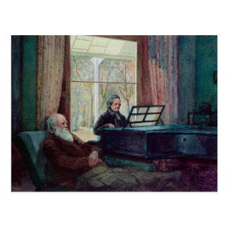 Charles Darwin en zijn vrouw bij de Piano Briefkaart