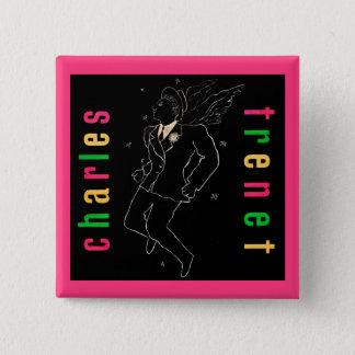 Charles Trenet Vierkante Button 5,1 Cm