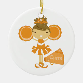 Cheerleader in Sinaasappel Rond Keramisch Ornament