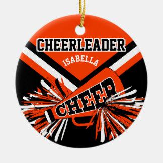 Cheerleader - Oranje, Zwart-witte 2 Rond Keramisch Ornament