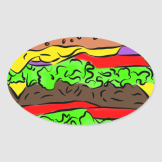 Cheeseburger Ovale Sticker