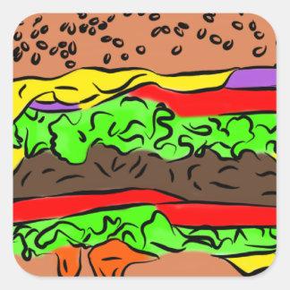Cheeseburger Vierkante Sticker