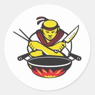 Chef-kok en een Wok Ronde Sticker