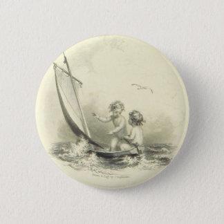 Cherubijnen - Engelen op de Gravure van het Water Ronde Button 5,7 Cm