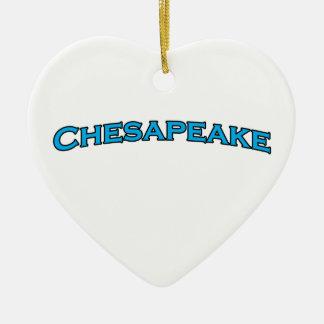 Chesapeake het Virginia Overspannen Logo van de Keramisch Hart Ornament