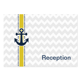 chevron stripes, anchor, nautical Reception cards Business Card