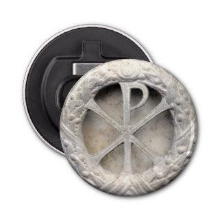 Chi-Rho - het Monogram van Christus Button Flesopener