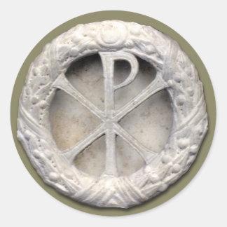 Chi-Rho - het Monogram van Christus Ronde Sticker