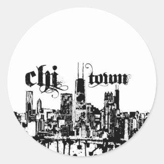 """Chicago """"chi-stad"""" zette voor uw stad aan ronde sticker"""