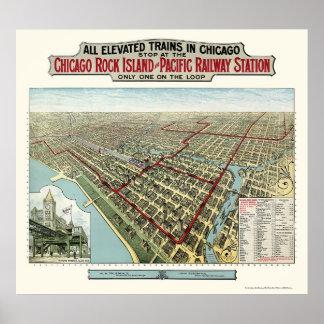 Chicago hief Treinen, de Panoramische Kaart van IL Poster