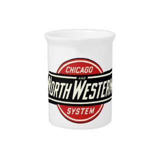 Chicago & Noordwestelijk Logo 1 van de Spoorweg Bier Pitchers