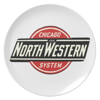 Chicago & Noordwestelijk Logo 1 van de Spoorweg Diner Borden