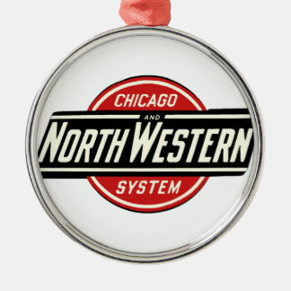 Chicago & Noordwestelijk Logo 1 van de Spoorweg Zilverkleurig Rond Ornament