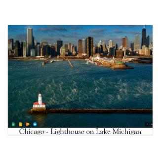 Chicago -- Vuurtoren op Meer Michigan Briefkaart