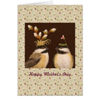 Chickadeekaart van het moederdag wenskaart