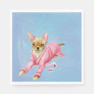 Chihuahua in de Servetten van een van de Badjas Papieren Servetten