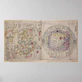 Chinees Koreaanse wereldkaart Poster