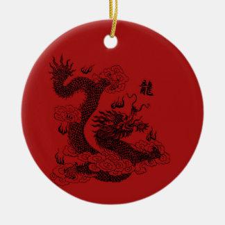 Chinese Draak Rond Keramisch Ornament