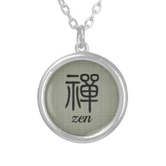 Chinese groene de kalligrafieolijf van Zen Zilver Vergulden Ketting