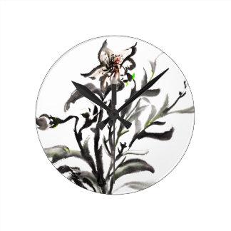 Chinese traditionele inkt het schilderen bloemen ronde klok