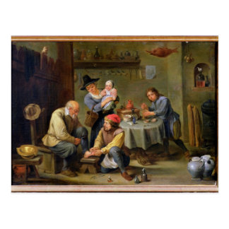 Chirurg die de Voet van een Oud Man neigen Briefkaart