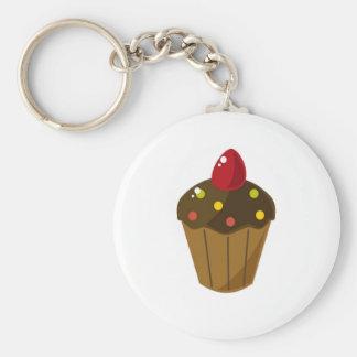 Chocolade Berijpte Cupcake Sleutelhanger