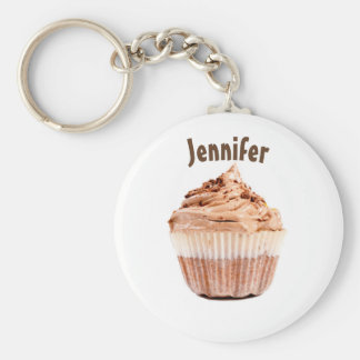 Chocolade Cupcake Gepersonaliseerde Keychain of Basic Ronde Button Sleutelhanger