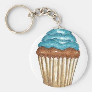Chocolade Cupcake met het blauwe berijpen Sleutelhanger
