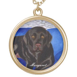 Chocolade Labrador op de Rieten Laag Goud Vergulden Ketting